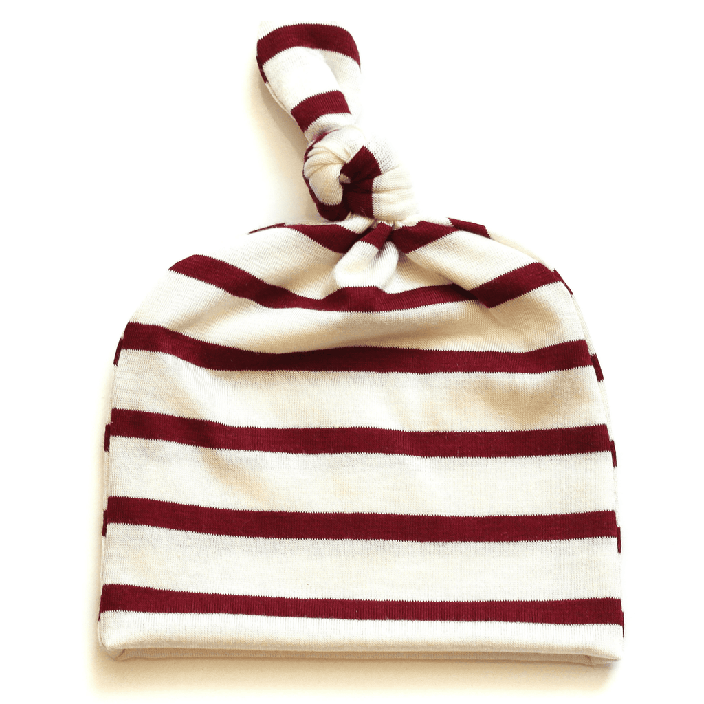 baby girl hat, newborn girl hat, topknot baby hat, baby top knot hat, red stripe hat, going home hat