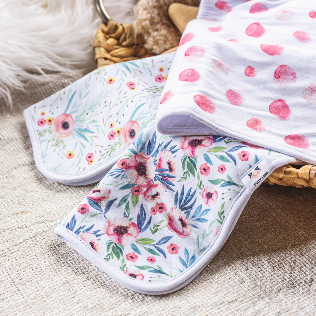 girl burp cloth set, floral baby burp cloths, baby shower gift girl, 3 pack burp cloths