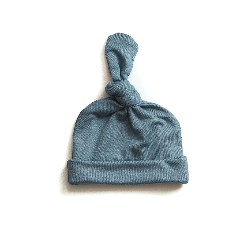 blue newborn hat, blue topknot hat, blue going home hat, boy top knot baby hat, baby boy beanie