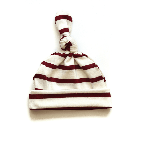 Ruby red and cream top knot baby hat