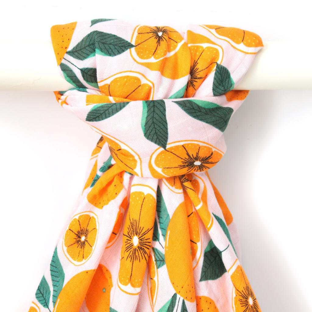 Bamboo Muslin Swaddle - Sliced Oranges