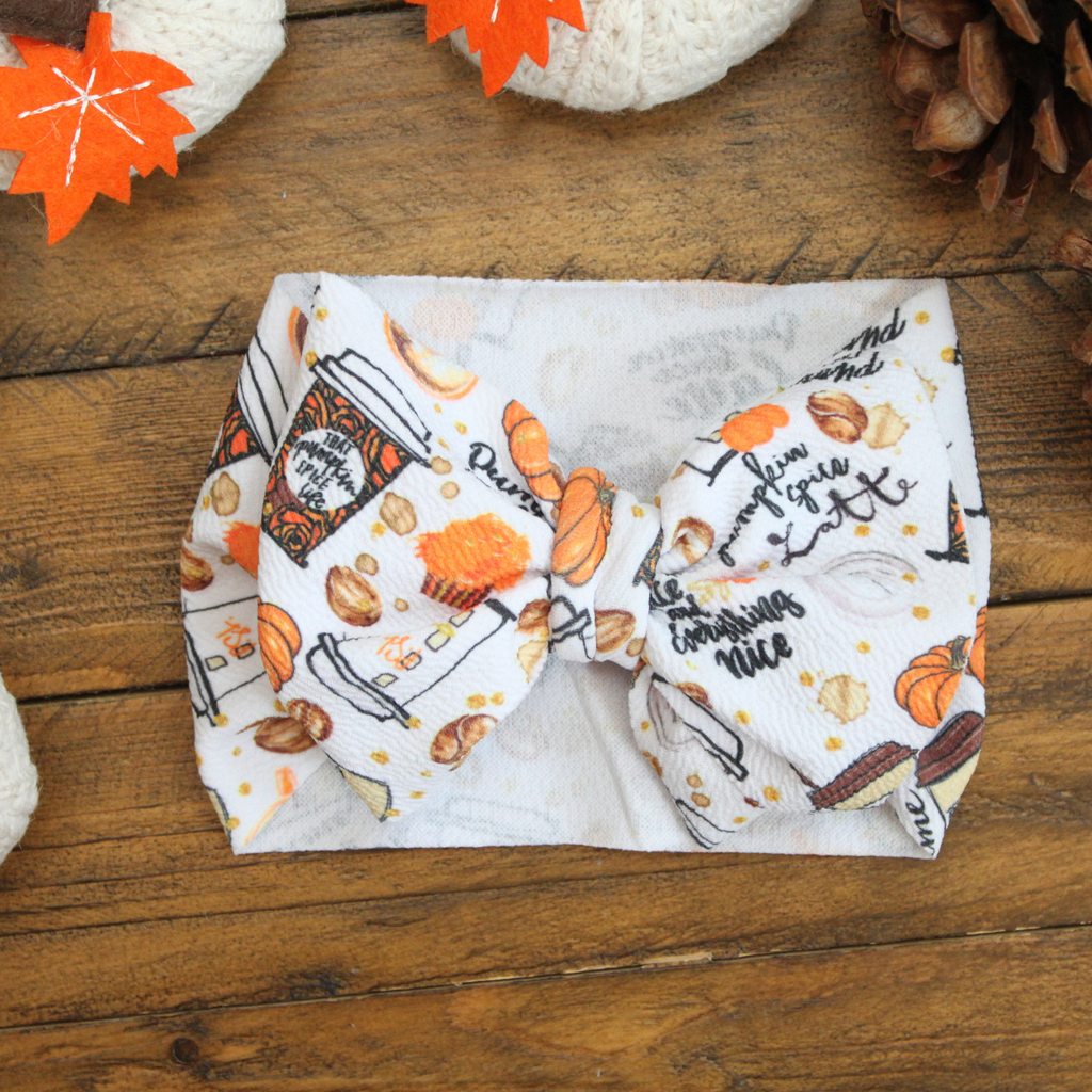 fall baby headwrap, pumpkin spice bow, halloween baby bow, big baby wraps