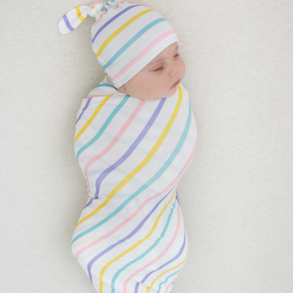 rainbow stripe swaddle, baby swaddle blanket, knit swaddle, stripe baby blanket, baby girl gift