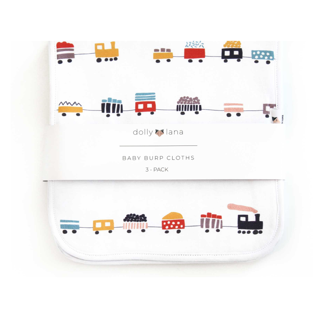 baby boy burp cloth set, boy burp cloths, trains burp cloths, urban boy burp cloth set