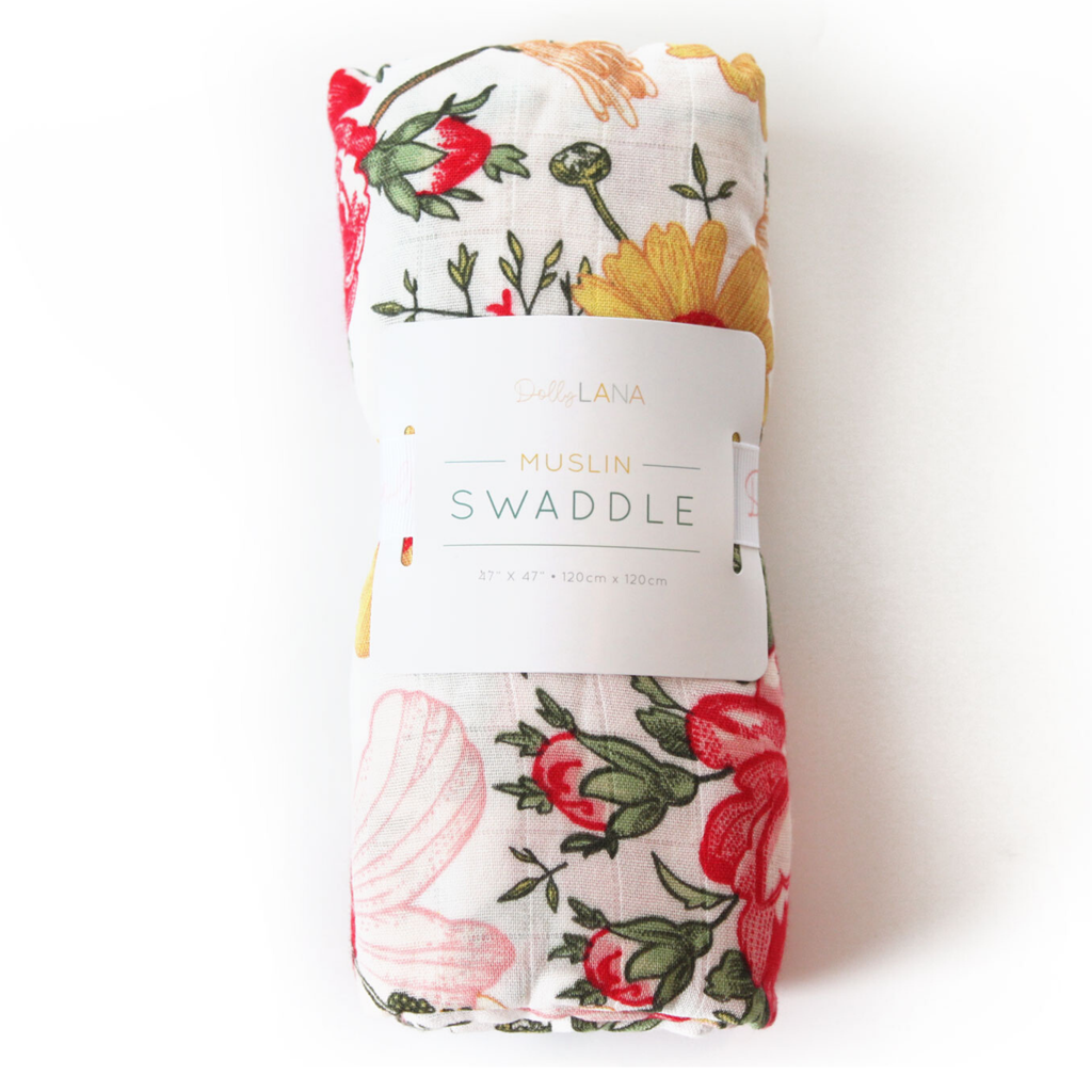bamboo swaddle, girl swaddle, muslin blanket, floral muslin swaddle, bloom