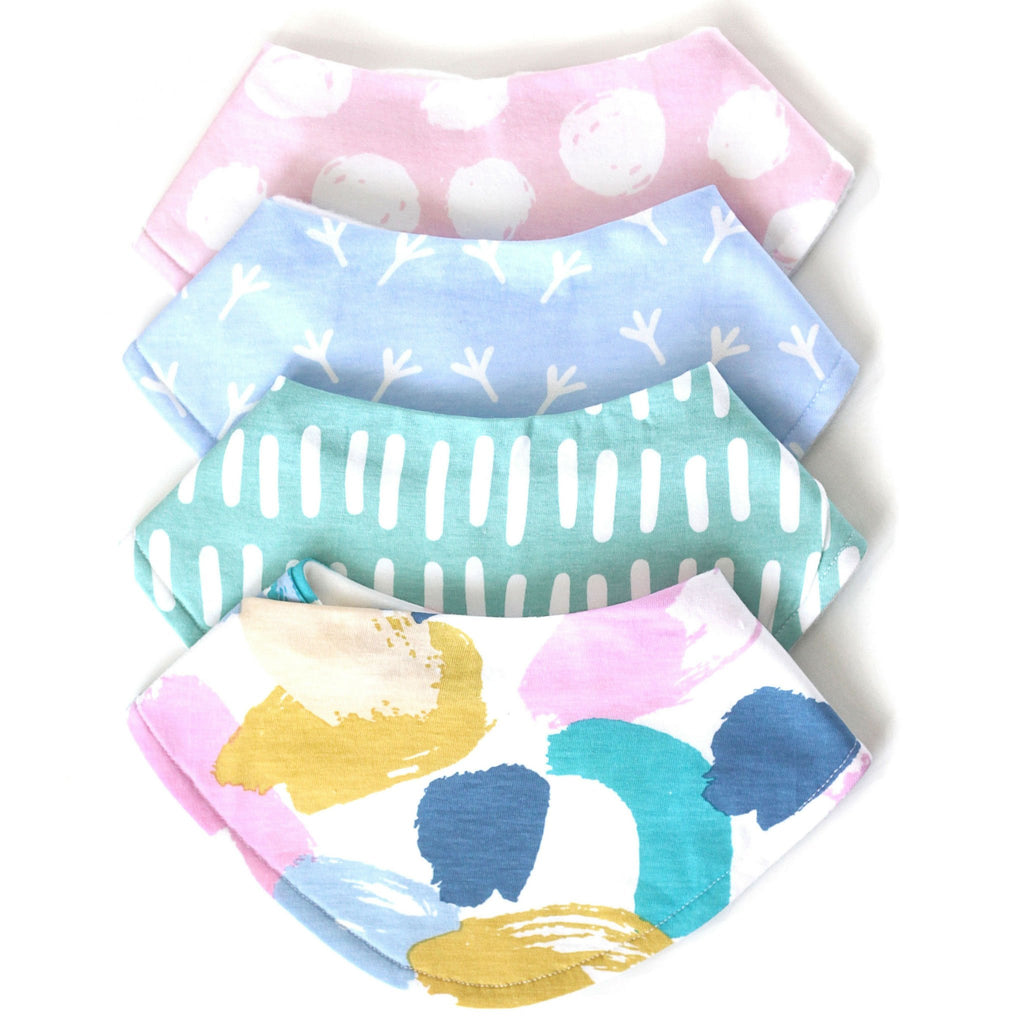 baby girl mint paint splash bib set, baby shower gift, bandana bibs