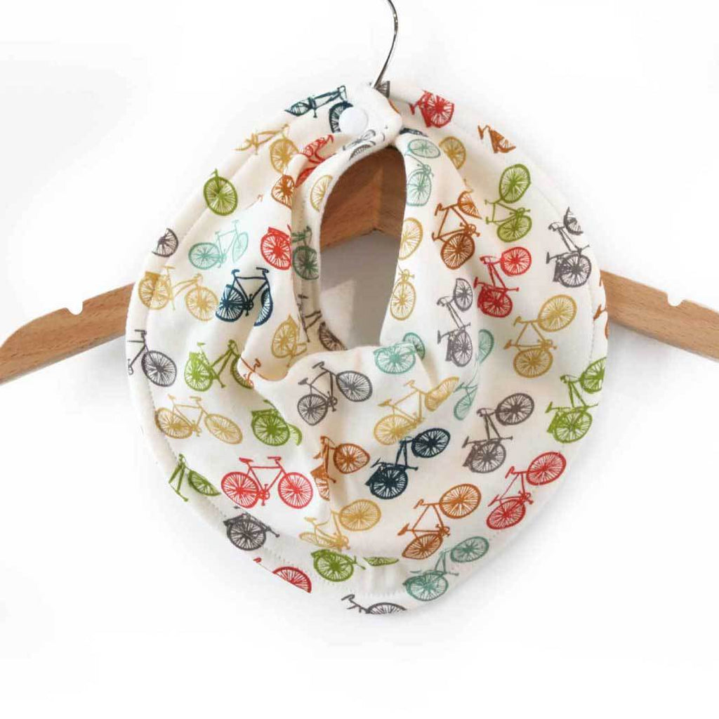 Organic baby bib, bicycle baby bib