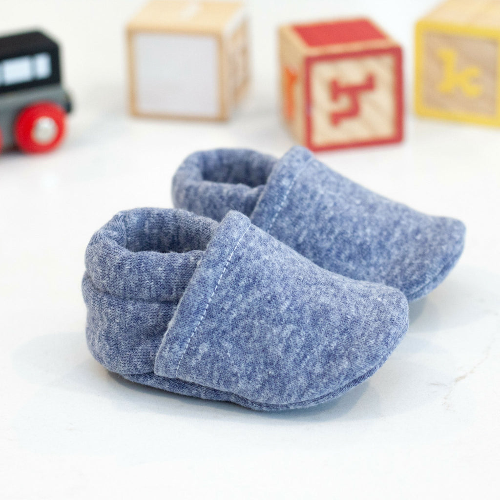 blue soft sole baby shoes, solid blue crib shoes, boy booties