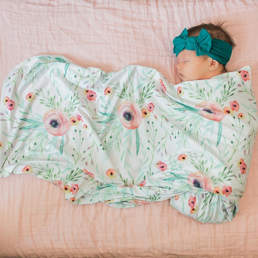 floral watercolor baby swaddle, baby girl swaddle, girl swaddle blanket, floral swaddle blanket