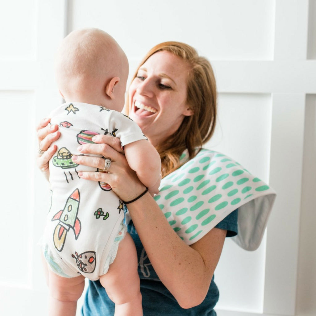 green burp cloth boy set
