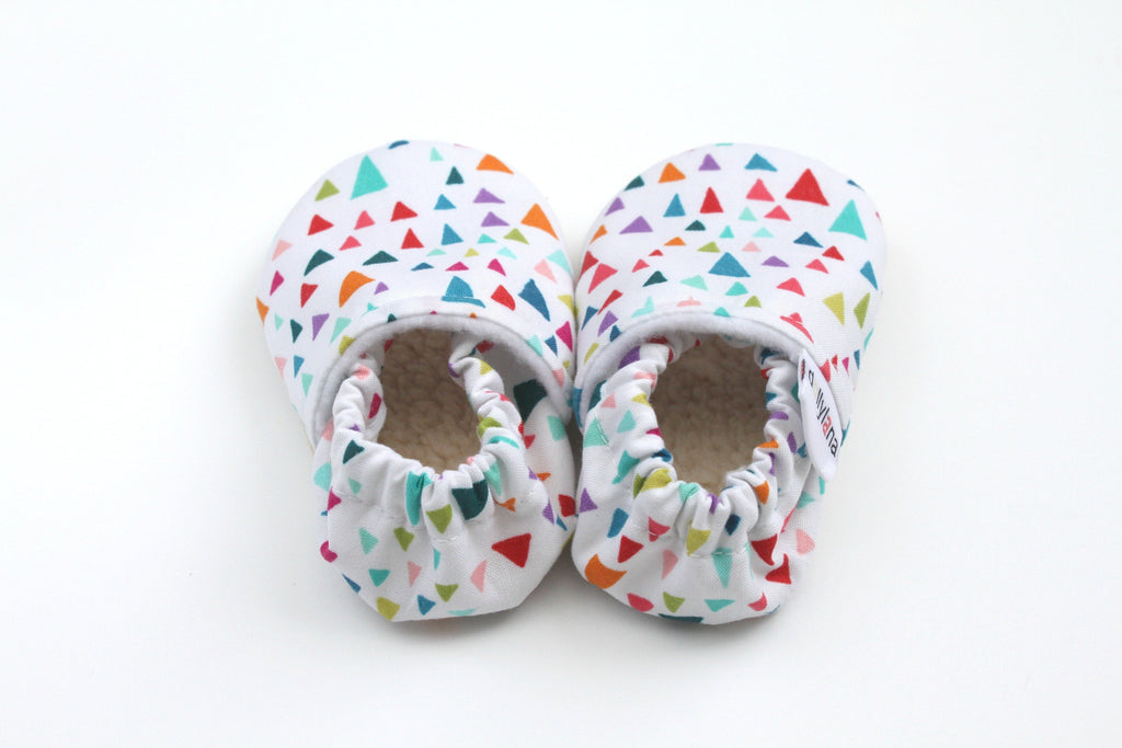 baby booties, crib shoes, baby moccasins, baby moccs, soft sole baby booties, soft sole moccasins, triangle booties, baby girl booties, baby booties for girls, baby apparel