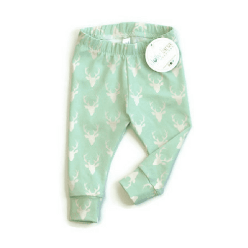 mint baby leggings, deer baby leggings, baby boy leggings, baby pants, deer baby pants