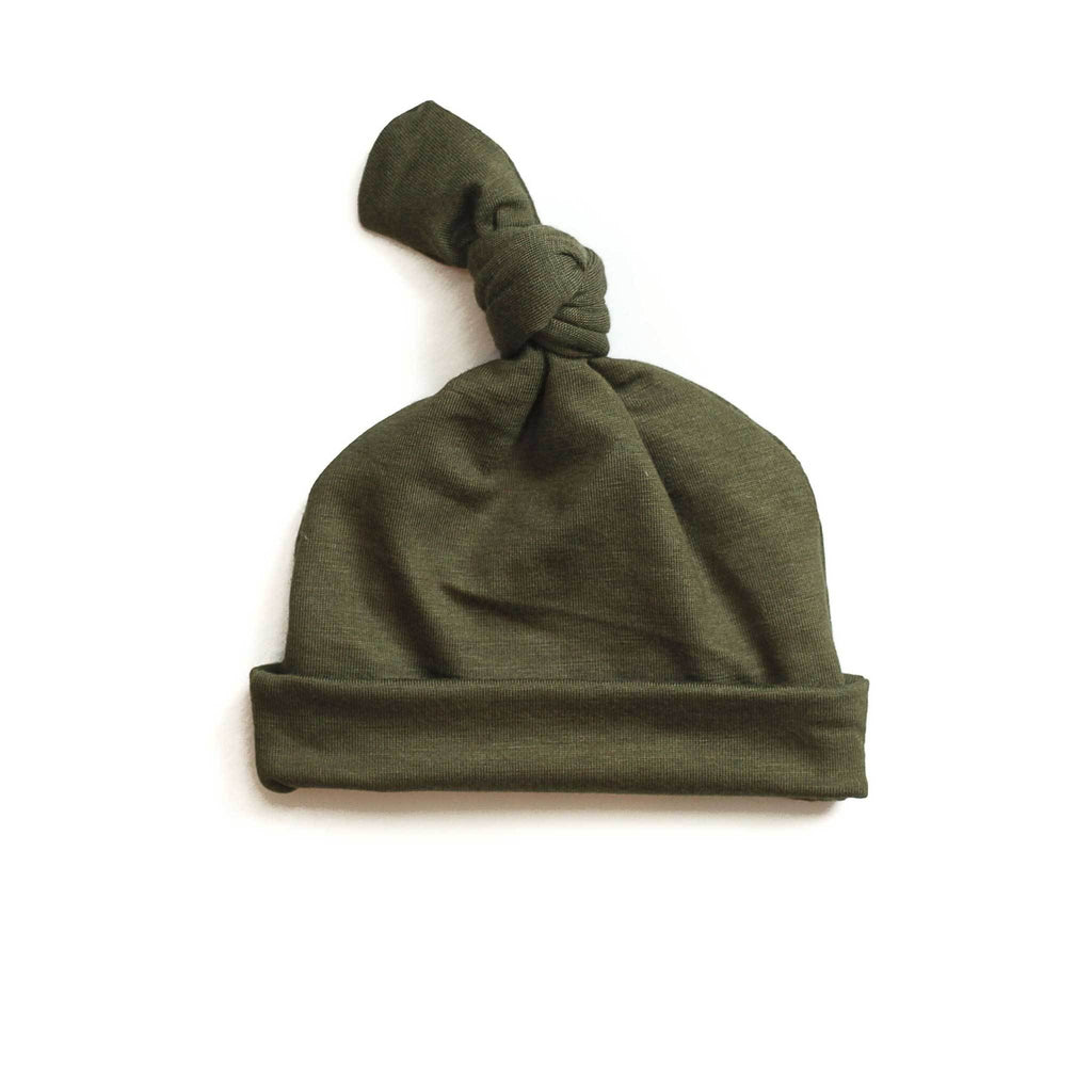 olive green baby hat, green going home baby hat, olive green topknot baby hat