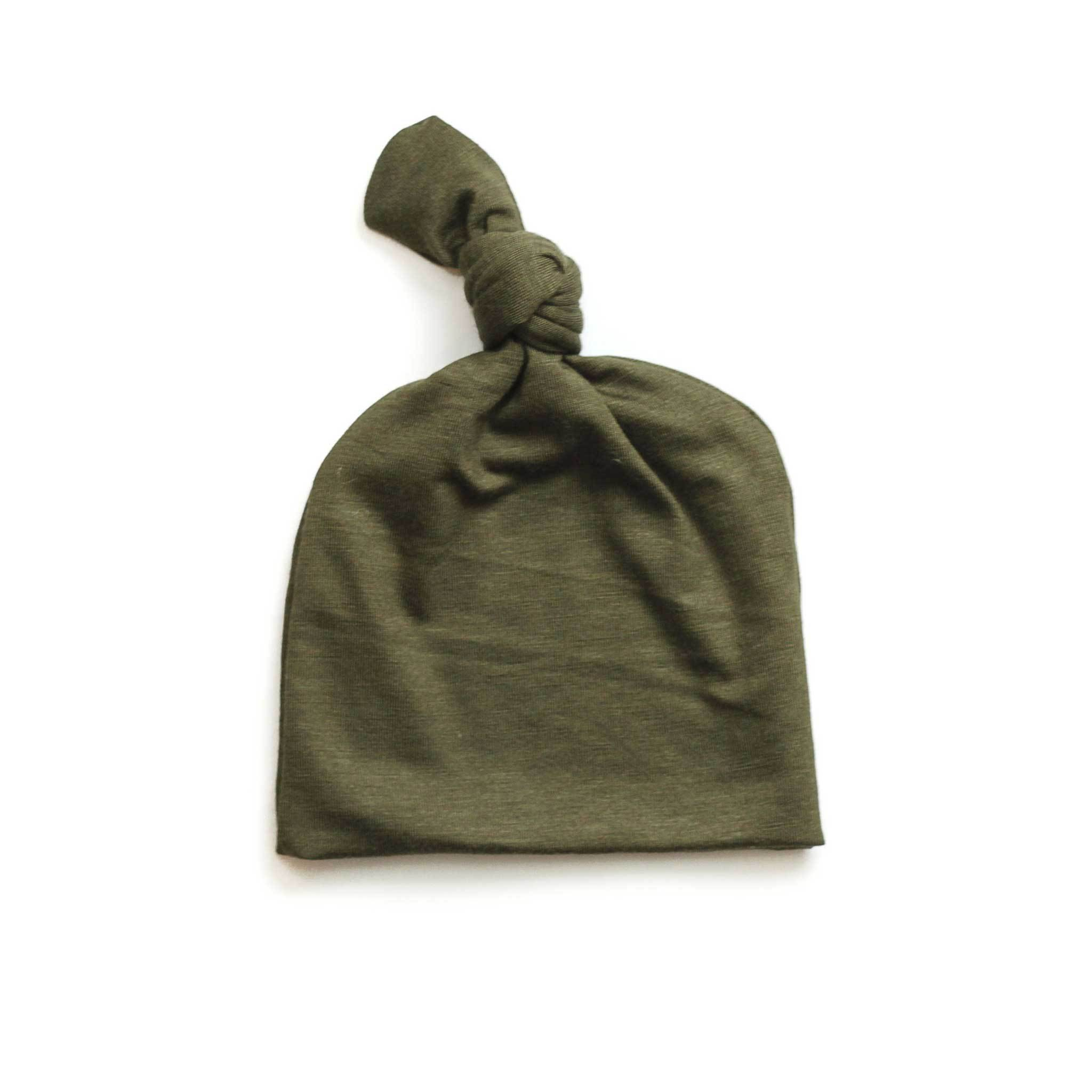 Olive green top knot baby hat – Dolly Lana Designs 007b86a5c5f