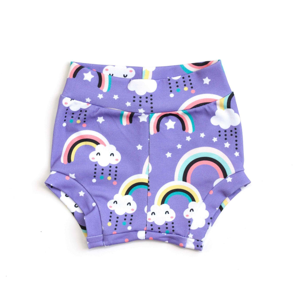 purple rainbow baby bloomers, baby shorties, rainbow shorts, coming home outfit, rainbow baby