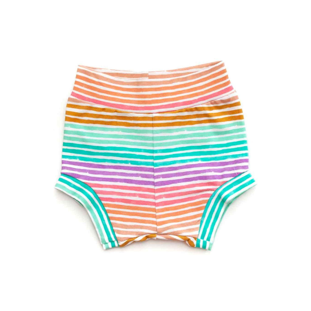 rainbow stripe baby bloomers, rainbow baby shorts, rainbow layette, baby girl bloomers