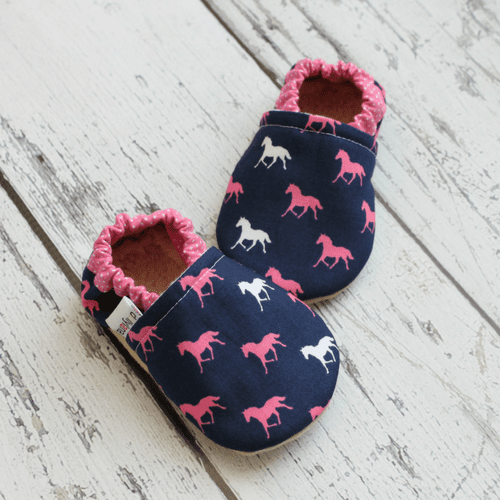 Soft sole baby moccasins, derby horse