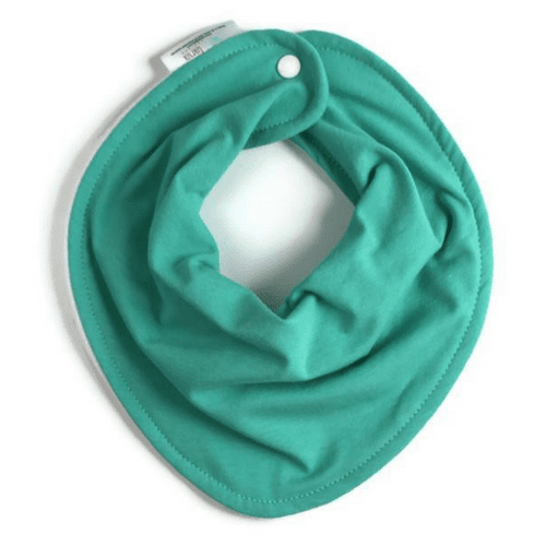 turquoise baby bib, teething bib, drool bib, green baby bib, gender neutral bib