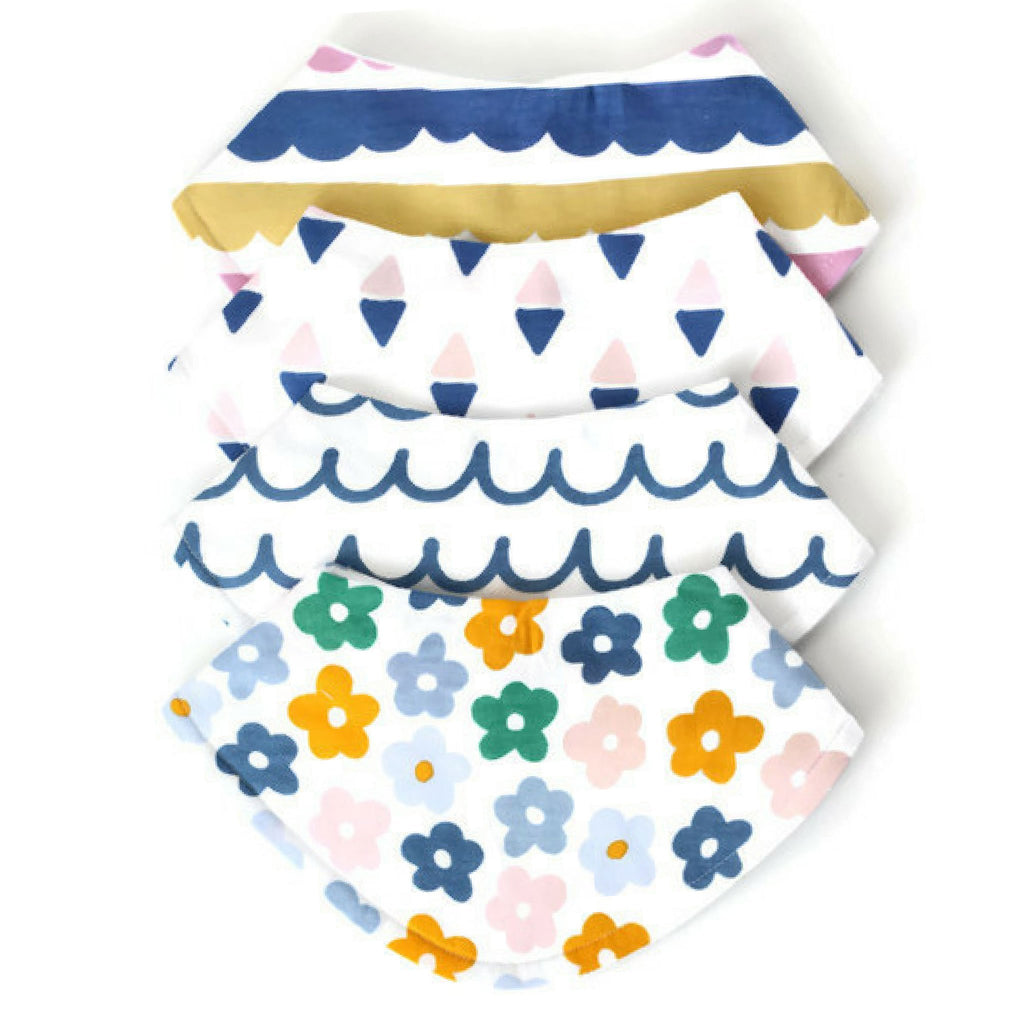 baby girl flower bandana bib set