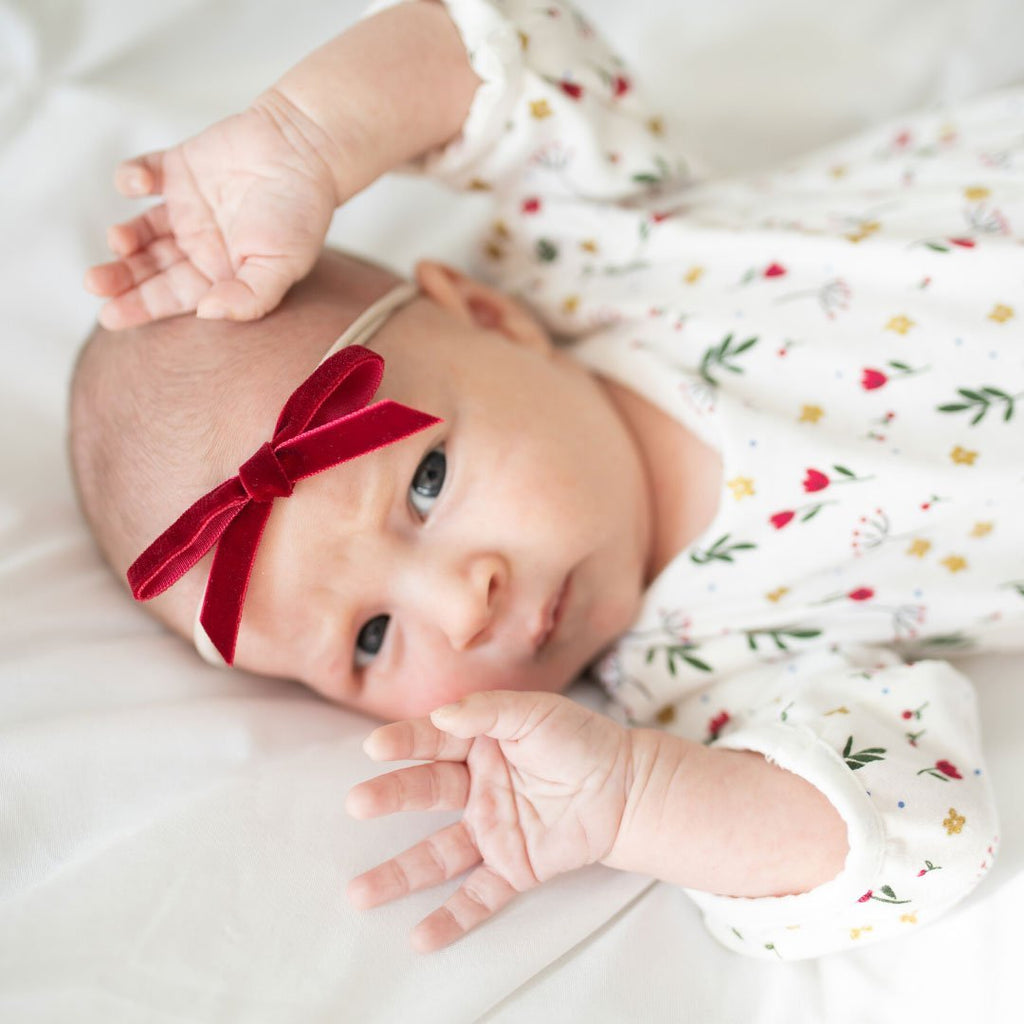 velvet baby bow set, holiday baby headbands, 3 pack velvet headbands, christmas baby bows