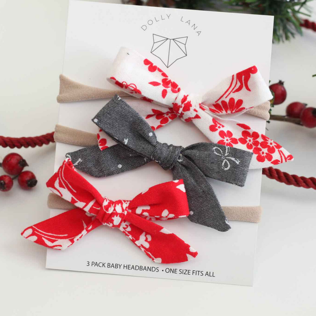 Baby Bow Headband Set | Red floral set