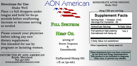AON 900MG Unflavored Oil - High Potency