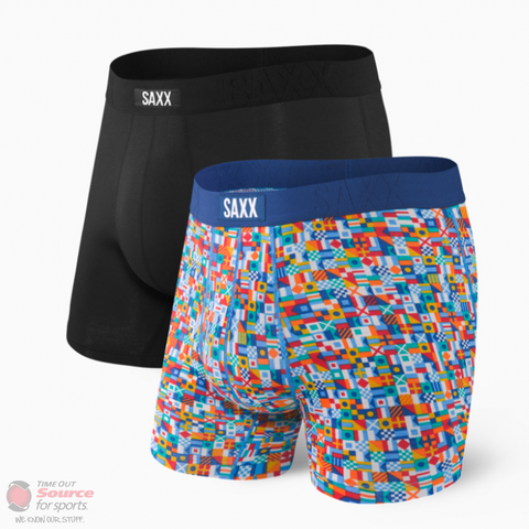 Saxx Undercover Boxer Brief Fly- 2 Pack- Black/Yacht Rock 101