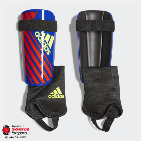 Adidas X Club Shin Guards- Bold Blue/Active Red/Solar Yellow- Junior