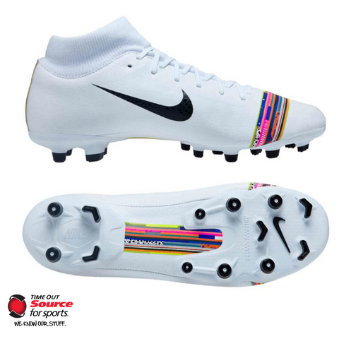 Nike Mercurial Superfly 6 Academy Multi-Ground Soccer Cleats-  White/Pure Platinum/Black- Adult
