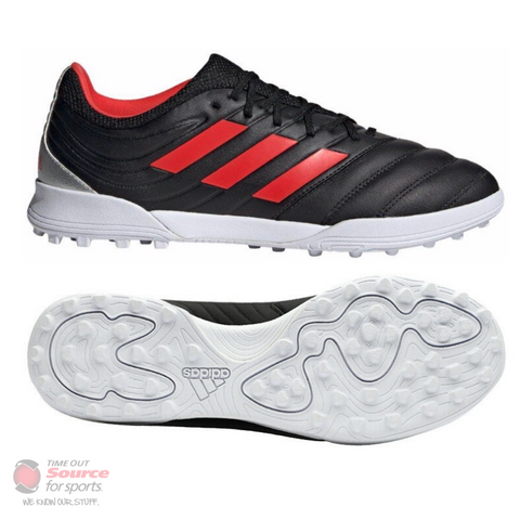 Adidas Copa 19.3 Turf Boots- Core Black/Hi-Res Red/Silver Metallic- Senior