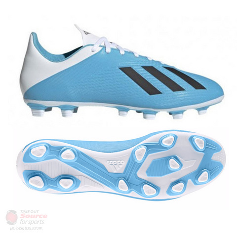 Adidas X 19.4 Flexible Ground Soccer Cleats- Bright Cyan/Core Black/Shock Pink- Senior