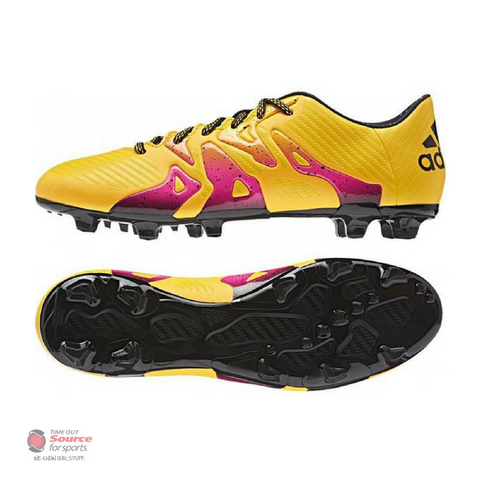Adidas X 15.3 FG/AG Soccer Cleats - Solar Gold/Core Black/Shock Pink- Senior