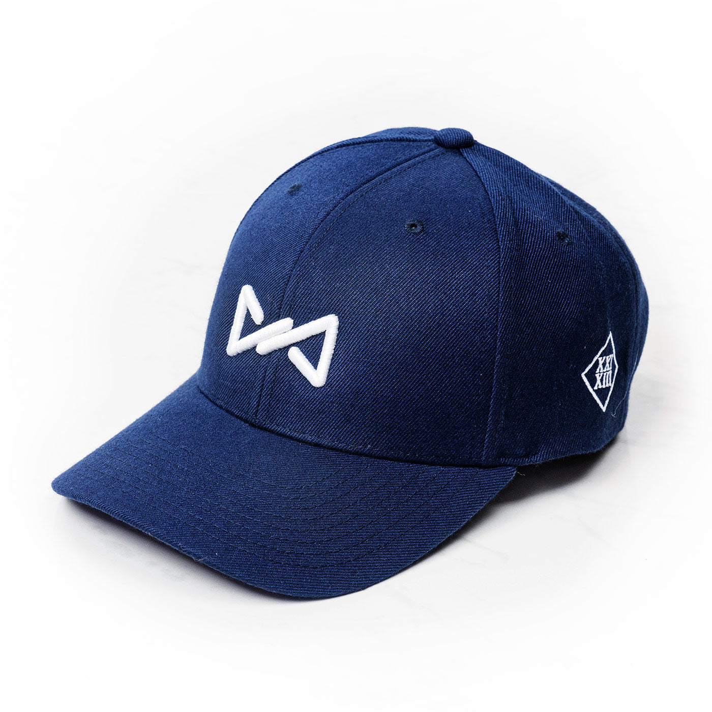 DaddyCap snapback white on dark blue