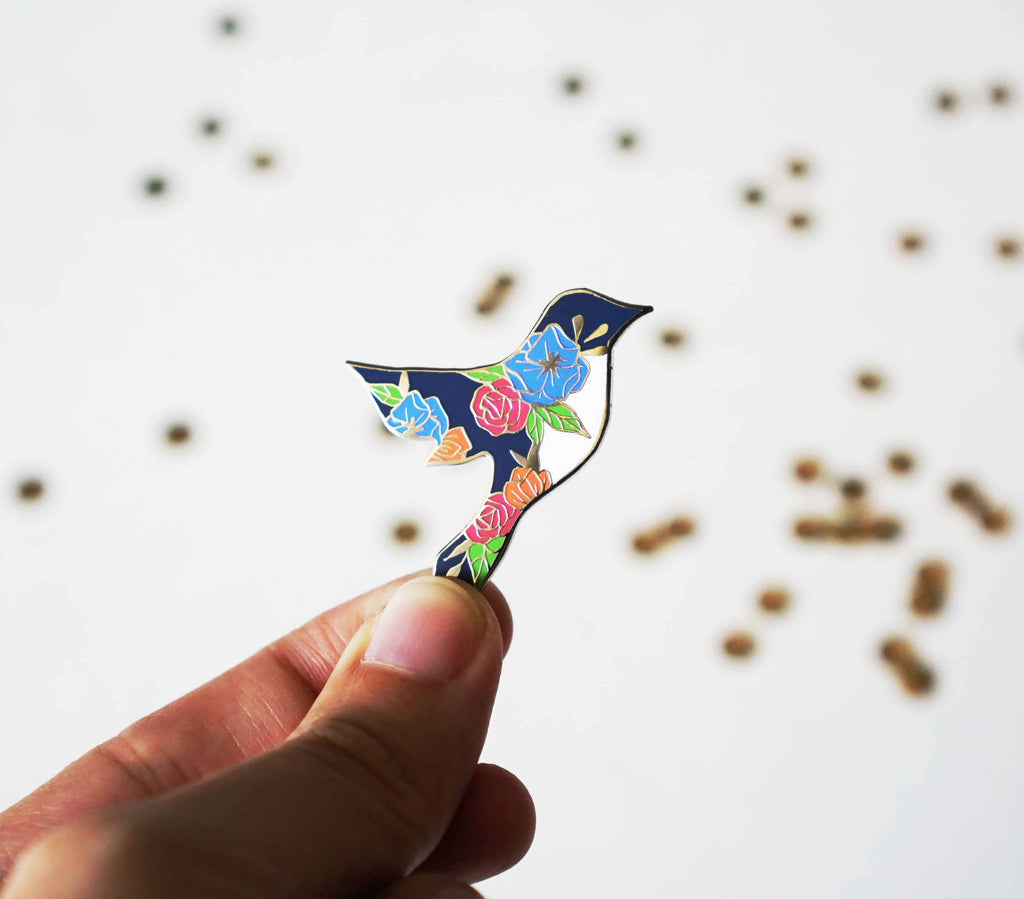 Floral Blue Bird Pin