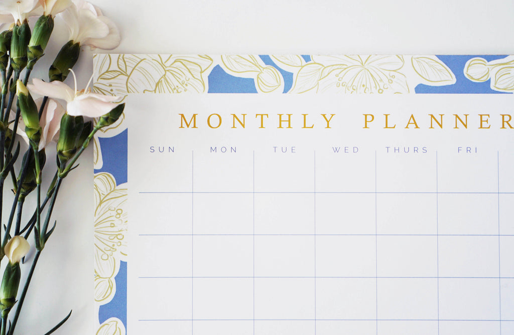 Blue and Gold Floral Monthly Planner