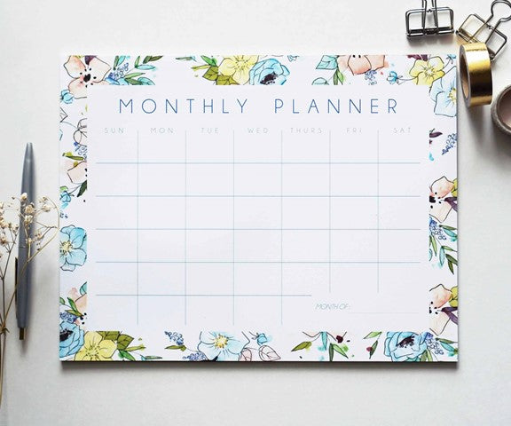 Blue Watercolor Monthly Planner