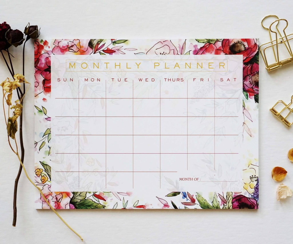 Floral Monthly Planner - Ginably - 1