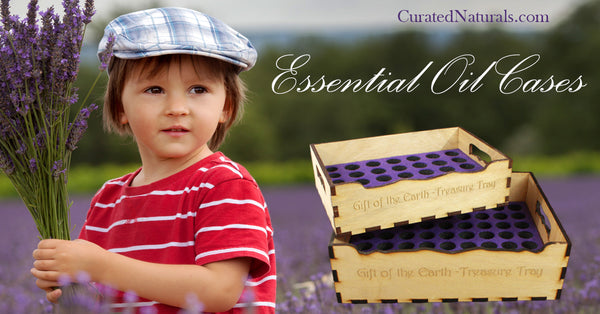 boy with lavender bouquet essential oil trays