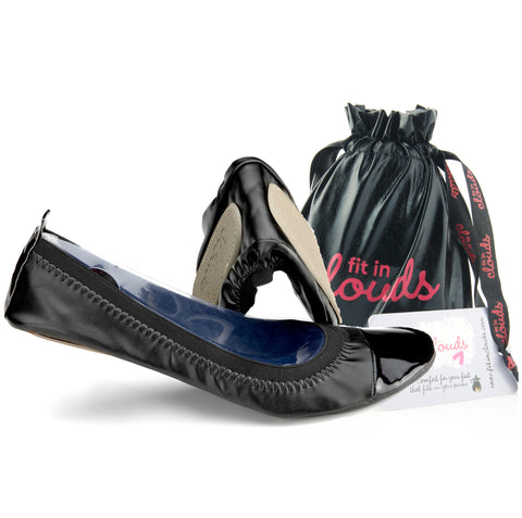 Black flats and bag
