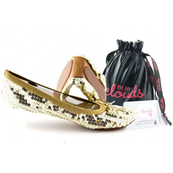 Gold Sequin portable flats - Fit In Clouds
