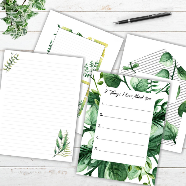 Printable 5 Things I Love About You Stationery
