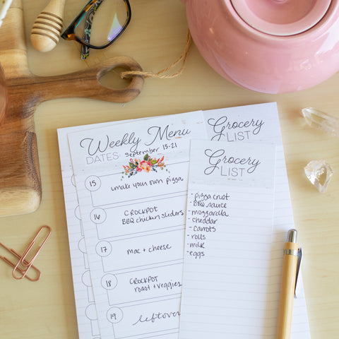 Meal Planning Notepad with Perforated Grocery List