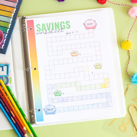 Printable Savings Worksheet - DIGITAL DOWNLOAD