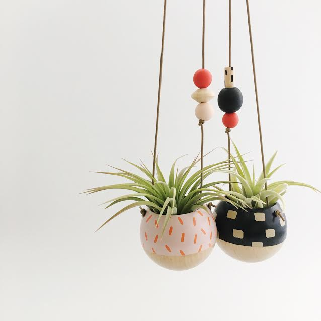Mini Hand-Painted Hanging Planters