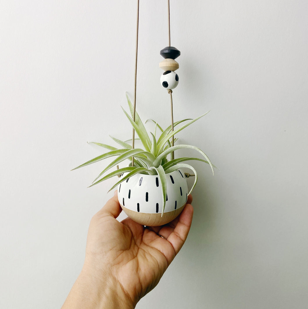 Hand Painted Mini Wood Sphere Hanging Planter