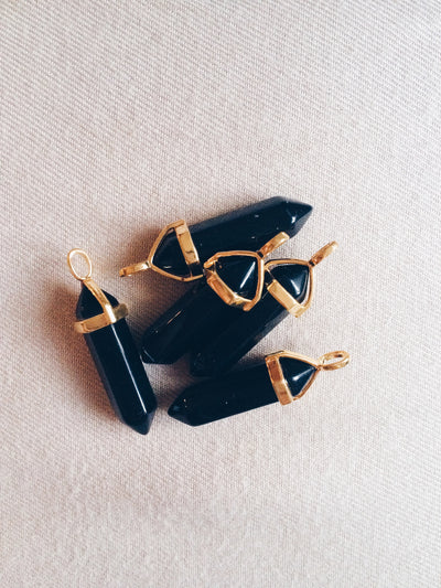 Black Obsidian Gold Crystal Necklace - Dream Closet