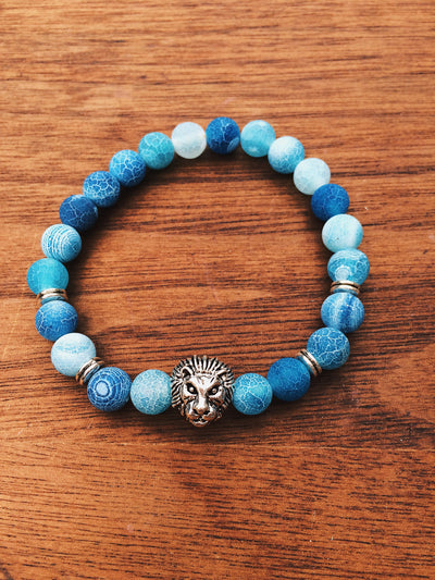 Frozen Agate Silver Lion Bracelet - Dream Closet