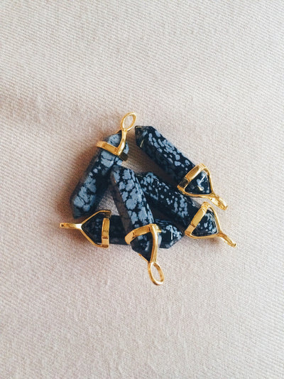 Snowflake Obsidian Gold Crystal Necklace - Dream Closet