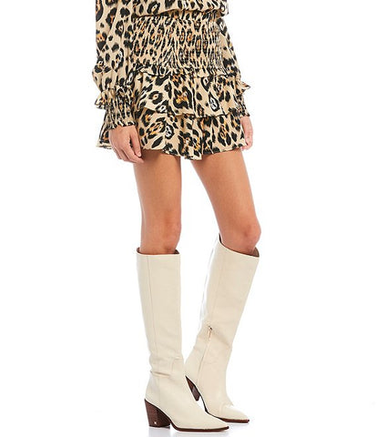 English Factory Animal Print Smocked Skirt