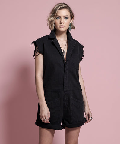 One Teaspoon Onyx Black Bandits Jumpsuit